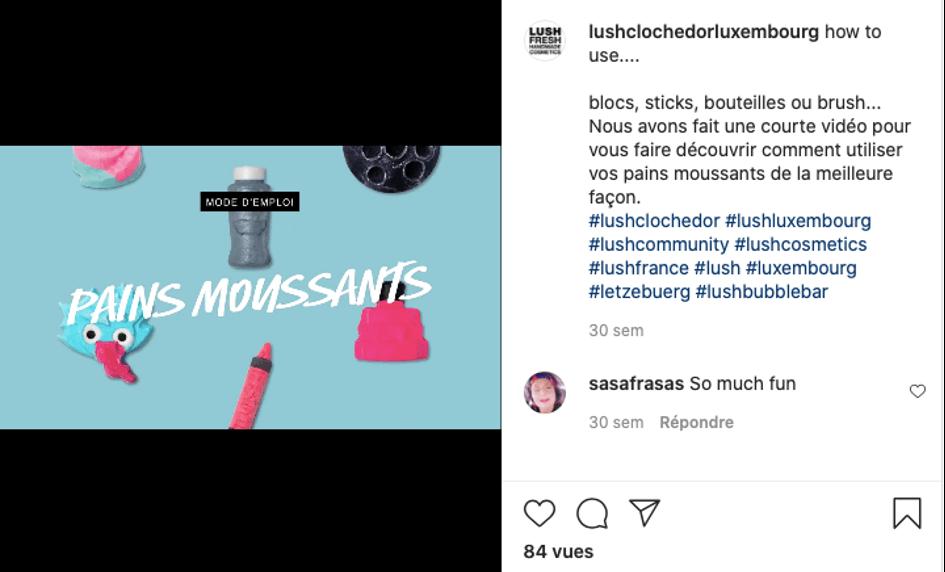 Publication instagram lushclochedorluxembourg tutoriel